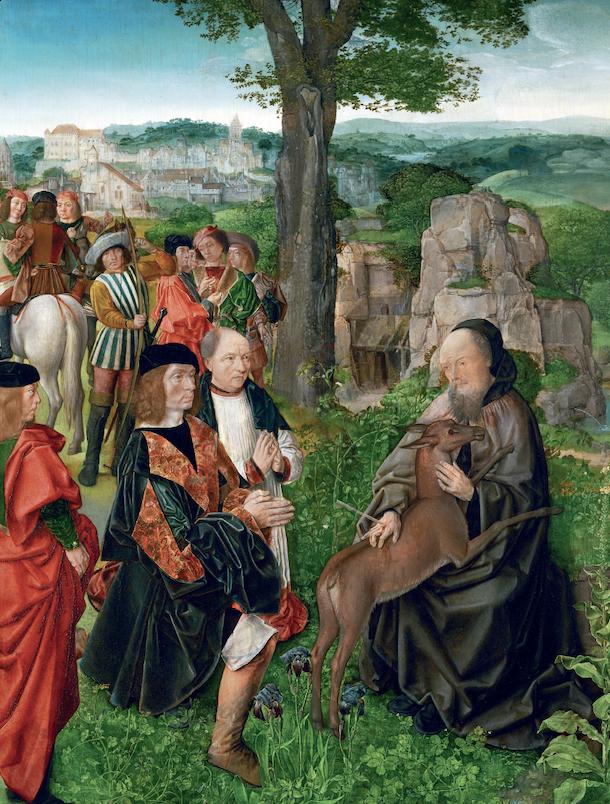 """Maître de Saint Gilles """"Saint Gilles et la biche"""""""