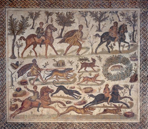 La chasse au lièvre : Mosaïque de Thysdrus