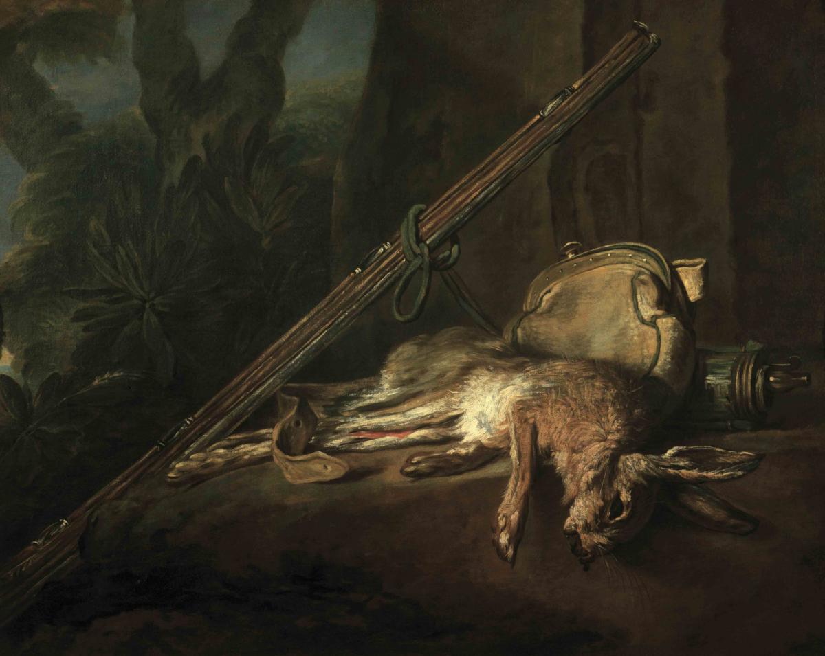 Lièvre mort avec fusil gibecière et poire à poudre par Jean-Baptiste Siméon Chardin